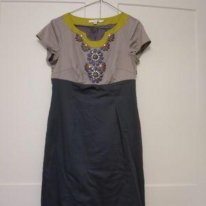 Boden beaded color block sheath dress